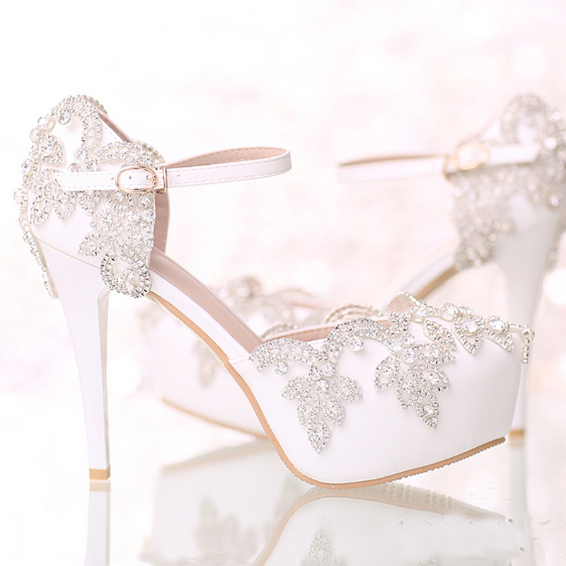 Round Toe Crystal Bride Shoes White Bridal Wedding Dress Shoes with Ankle Straps Platform Formal Dress Shoes Prom Party Pumps