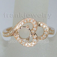 Vintage Round 5mm 14Kt Rose Gold  Engagement Setting Ring for Women Wedding Jewelry SR21
