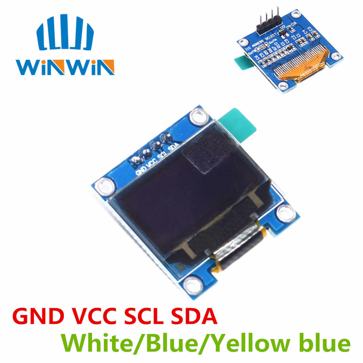 "10pcs 0.96 ""SPI/IIC I2C 통신 흰색/파란색/노란색 파란색 0.96 인치 OLED 모듈 ARDUINO 용 128X64 OLED LCD 디스플레이 모듈"