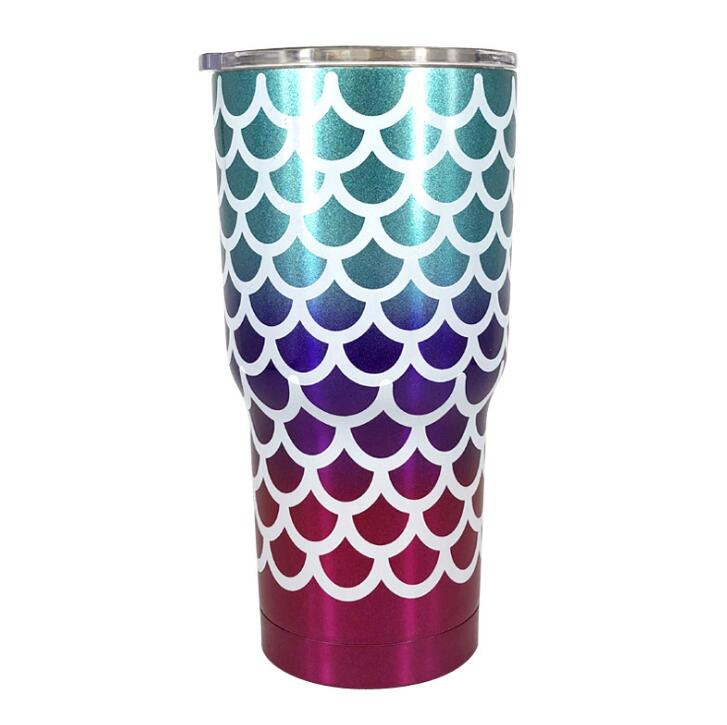 10pcs 20oz 30oz Mermaid Tumbler Insulated Stainless Steel Double Wall Vacuum Insulated Travel Mug Beer Cup