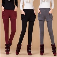 2016 autumn and winter female elastic plus size faux two piece legging female plus velvet thickening legging