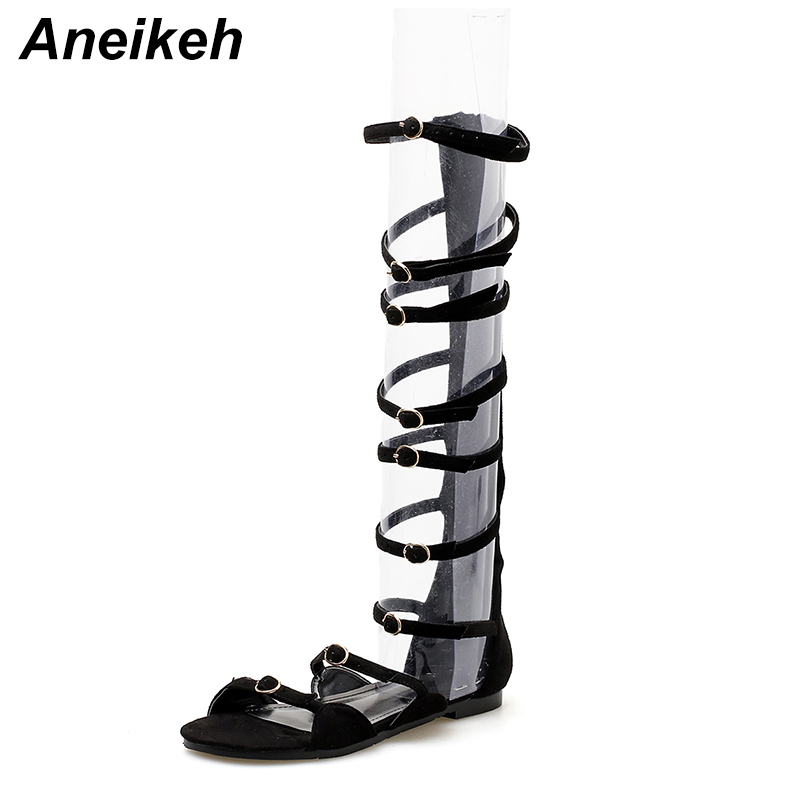 c88237b647b Aneikeh 2018 New Women Sandals Nubuck Shoes Open Toe Knee High Buckle Strap  Gladiator Sandals Boots