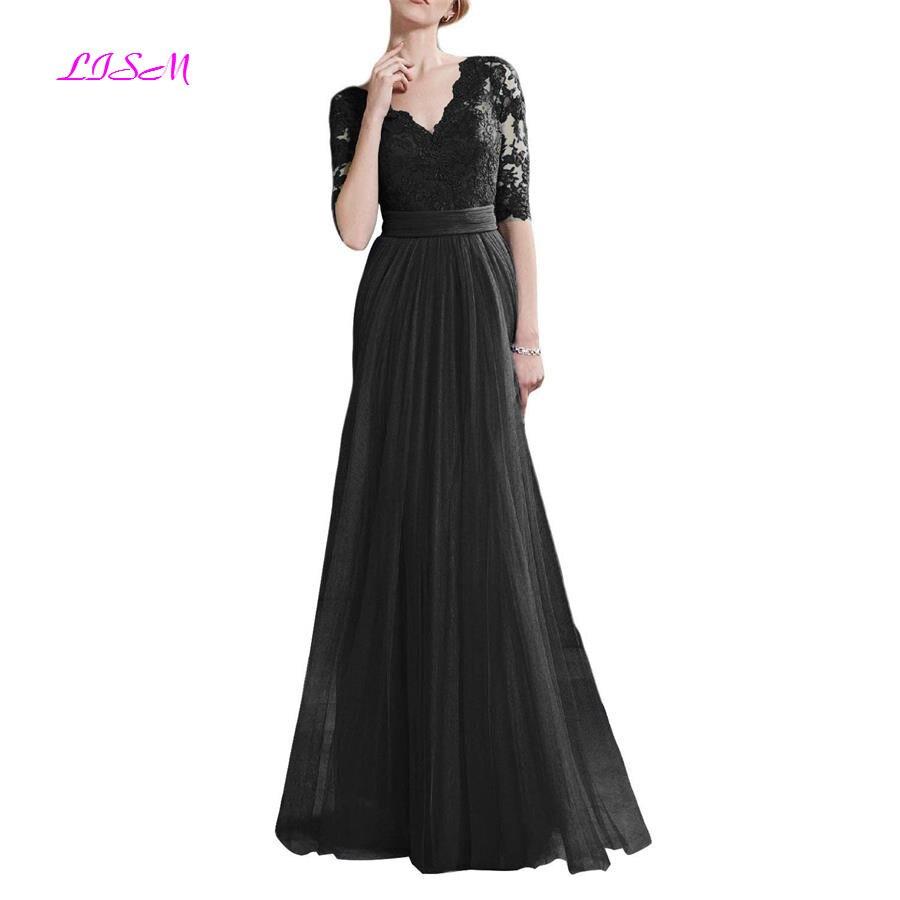 Half Sleeves Long Evening Dresses V-Neck Appliques Tulle Prom Dress Elegant A-Line Formal Party Gowns Royal Blue robe de soiree