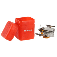 TOMSHOO Outdoor Camping Stove Ultralight Compact Foldable Gas Stove with 9 Plate Camp Stove Windshield Gas Cartridge Adapter