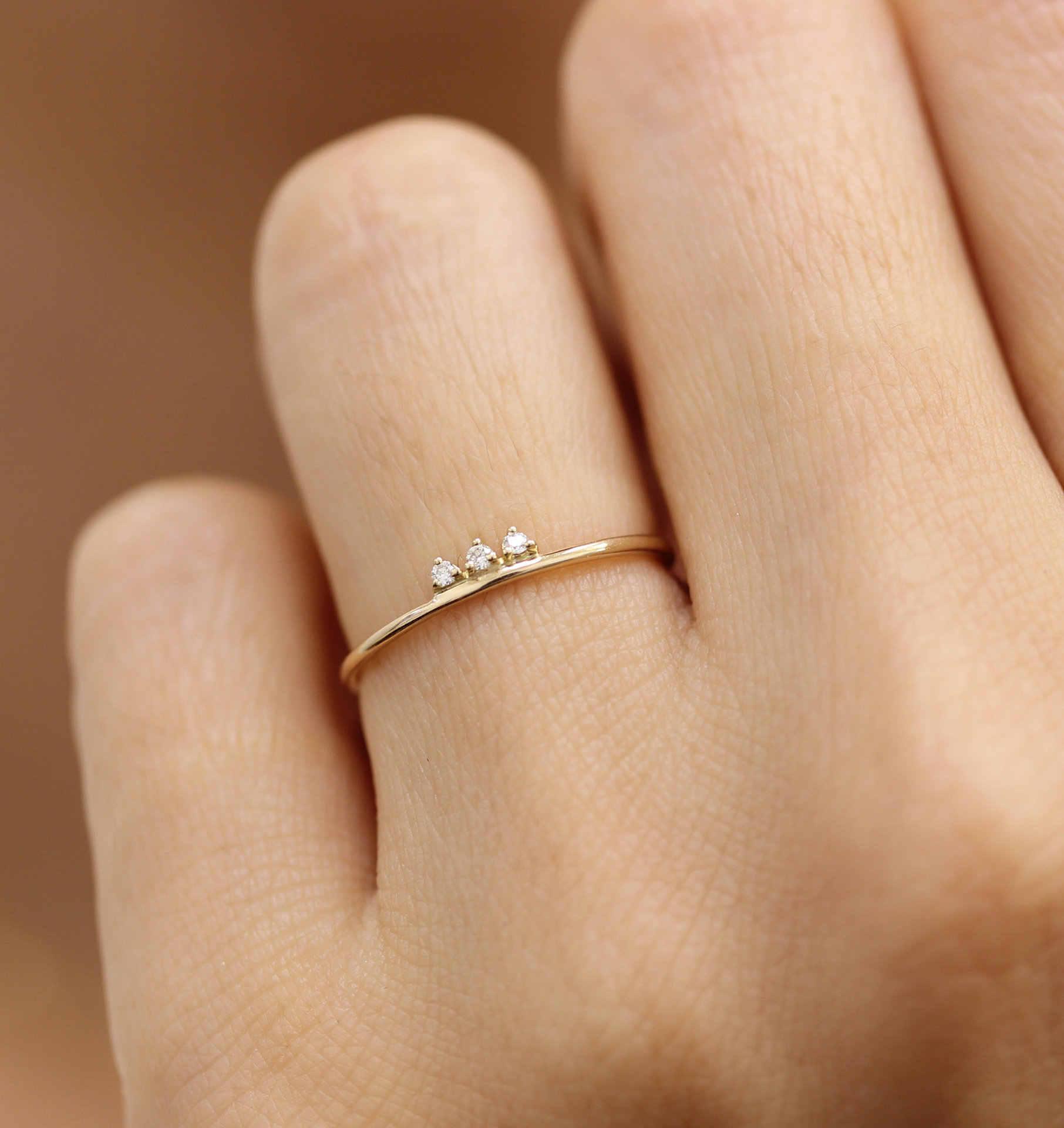 925 anillos เงิน 14K ทองฝังขนาดเล็กหักเพชรประณีตขนาดเล็กสดน่ารัก Lady Girl เครื่องประดับส่วนบุคคล