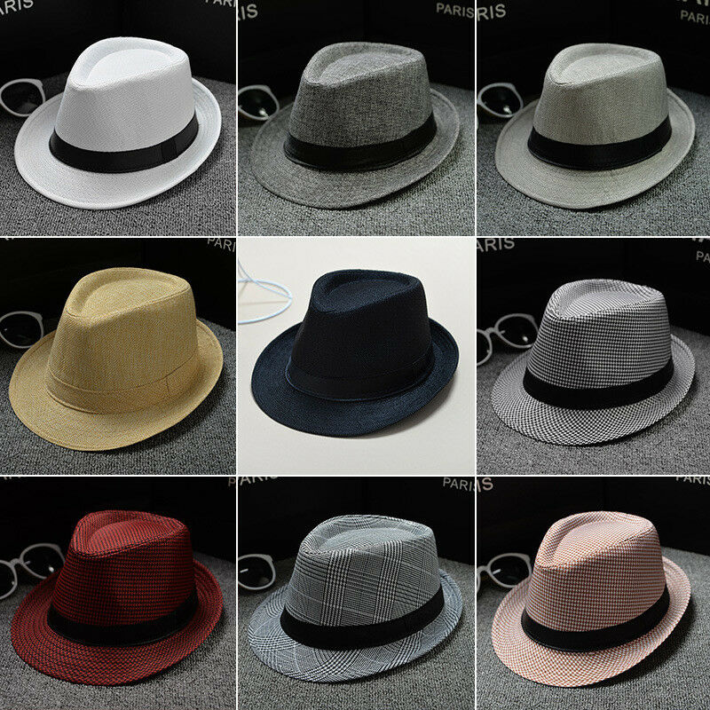 Jazz Solid  Unisex Straw Fedora Sun Hat Panama Trilby Crushable Mens Ladies Foldable Travel