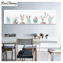Large 5D DIY Full Square Diamond PaintingWatercolor Cactus Succulents Plants 3D Embroidery Mosaic kit Decor FS3518