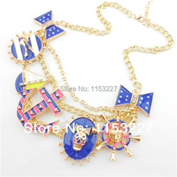 Free Shipping Marine Style Anchor Rudder Sailing Boat Charm Vogue Jewelry Golden Necklace