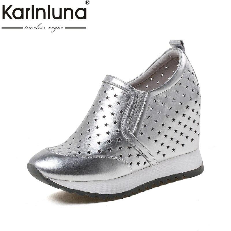KarinLuna 2018 New large size 33 40 genuine leather wedge high heels Platform pumps Woman slip