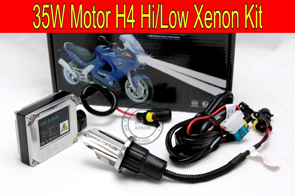 Free shipping 35W HID kit for Motor/Motorcycle Bike H4 Bi-Xenon Kit Hi/Low Xenon Bulb top quality H4 Kit with slim ballast free shipping 48v 15ah battery pack lithium ion motor bike electric 48v scooters with 30a bms 2a charger