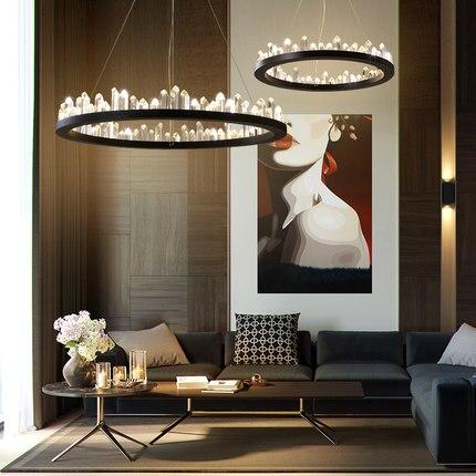 Modern Crystal Chandelier LED Lights American Crystal Chandeliers Lighting Fixture Round Dining Room Living Room Hanging Lamps