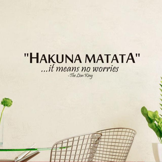 The Lion King saying: Hakuna Matata No Worry quote wall decal-Free Shipping Wall Stickers With Quotes