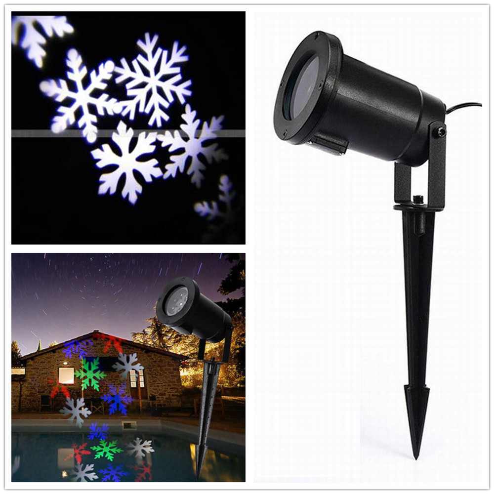 DHL Christmas Snow Projector LED Light Outdoor White Snowflake lawn lamp IP65 Holiday Garden Decor RGB with EU/UK/US/AU Plug