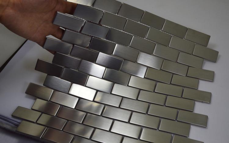 free shipping silver color stainless steel metal mosaic tiles subway brick pattern hallway mosaic tiles kitchen backsplash strip