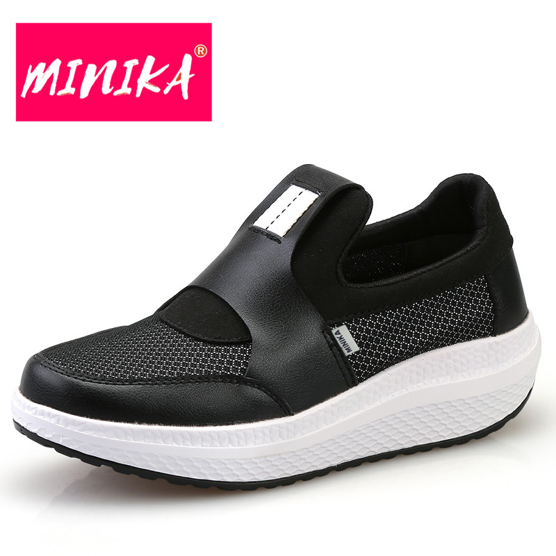 MINIKA Flat Platform Shoes Women New Arrival 2017 Air Mesh Breathable Slip-On Shoes Women Thick Bottom Swing Women Casual Shoes fashion women casual shoes breathable air mesh flats shoe comfortable casual basic shoes for women 2017 new arrival 1yd103
