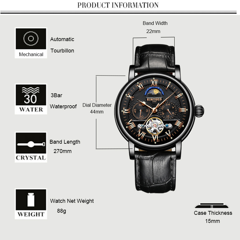 KINYUED Moon Phase Tourbillon Mens Skeleton Watch Men Chronograph Automatic Mechanical Watches Luxury Brand Relogio Masculino