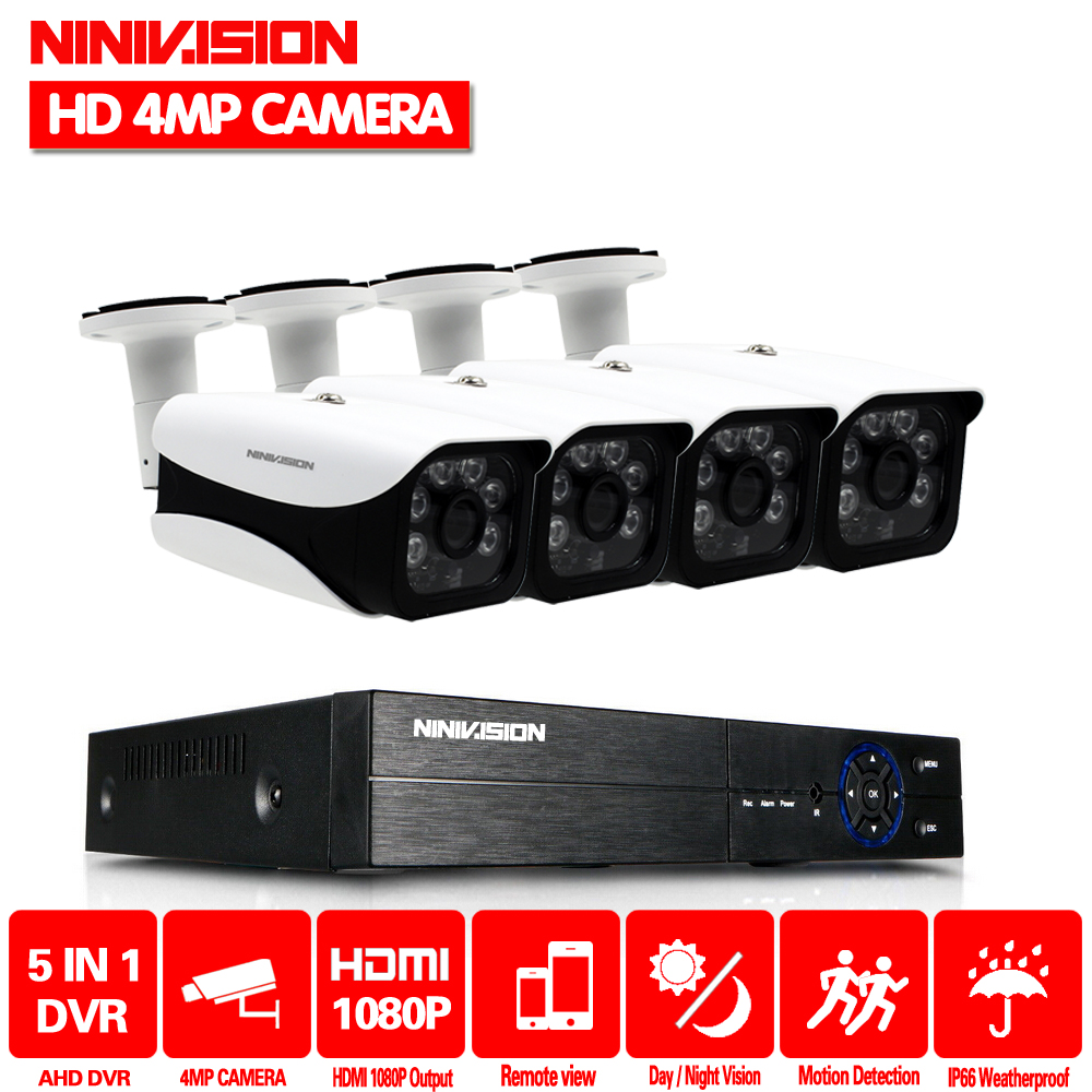 4CH AHD DVR NVR Kit 4MP CCTV System 3.6mm 6PCS Aarray LEDS 4.0MP HD Camera indoor Outdoor P2P Onvif Security Surveillance Set dg home стул james