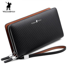 Williampolo erkek cüzdan moda yeni varış 100% inek deri iş katı fermuar uzun erkek debriyaj cüzdan erkek çanta cüzdan