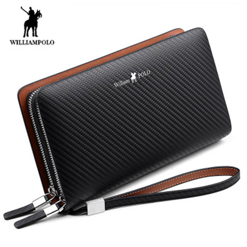 Williampolo Men's Wallet Fashion New Arrival 100% Cow Leather Business Solid Zipper Long Mens Clutch Wallet Male Handbag Wallet