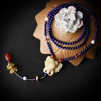 Cổ điển shell elephant pendant áo len nữ vòng cổ dài màu xanh chuỗi hạt đá copper flower red carnelian thả mới đến