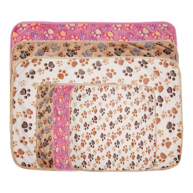 Pets Mat Soft Warm Fleece Paw Print Design Pet Puppy Dog Cat Mat Blanket Bed Sofa Pet Warm Product Cushion Cover Towel 1