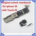 Para iphone 5s motherboard com touch id de desbloqueio de fábrica 16 gb original placa lógica mainboard com impressão digital instalar ios sistema
