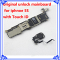 Para iphone 5s motherboard con touch id desbloqueo de fábrica 16 gb placa lógica mainboard original con huella digital instalar sistema de ios
