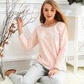 100% algodón pijama pijamas de las mujeres primavera y el otoño femeninos de manga larga ropa de dormir ropa de casa chica