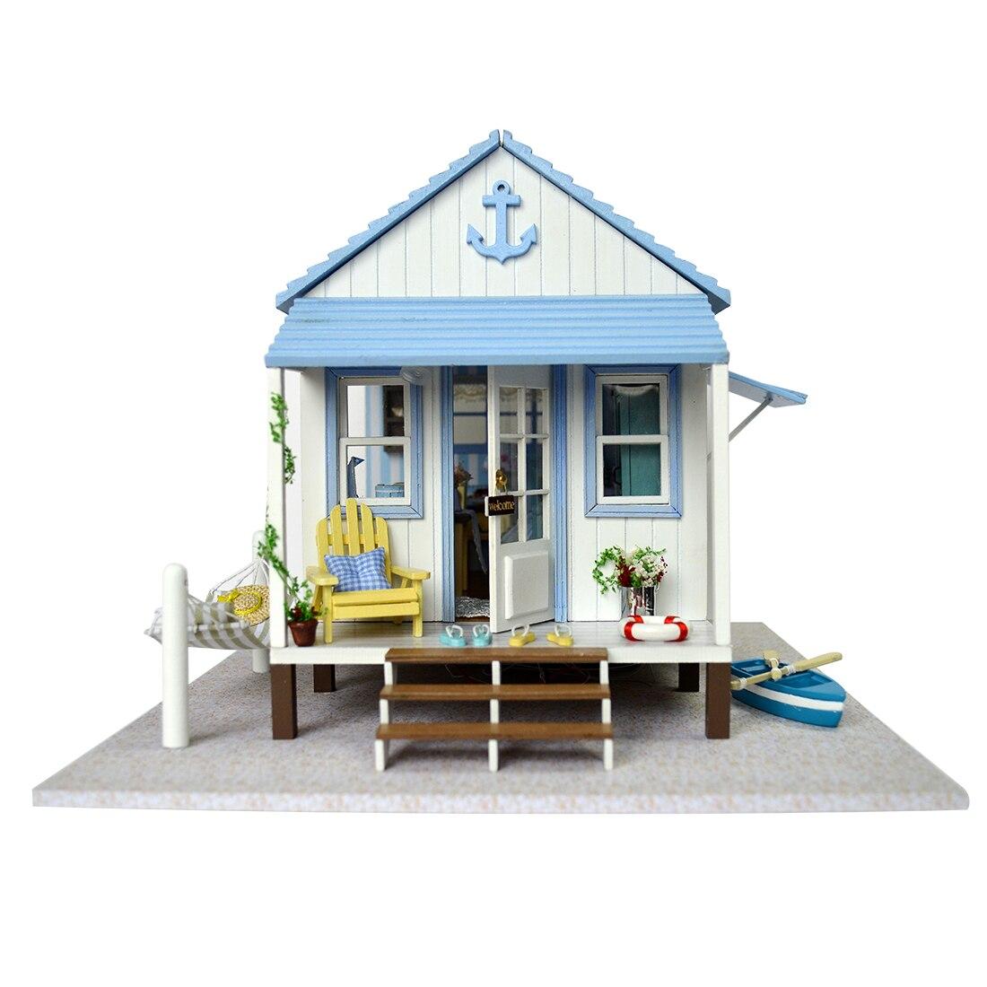 Bricolage Happy Coast mer maison de poupée Miniature en bois maison de poupée avec meubles maison bleue jouets pour enfants cadeau d'anniversaire