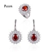 PATAYA שמש יפה אדום טבעי עיצוב אמן Zirconia טבעת סטי תכשיטי עגילי סטי תכשיטי אביזרי חתונה מסיבת ערכות
