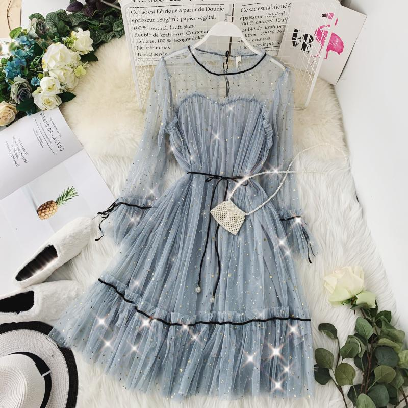 HISUMA spring autumn new women Star sequins gauze flare sleeve lace-up Princess dress female elegant o-neck mesh puff dresses 51