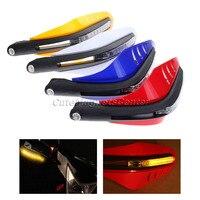 7 8 Motorcycle Led DRL Turn Signal Light Brush Dirt Bike Motocross Bar Handguard Protector Cover