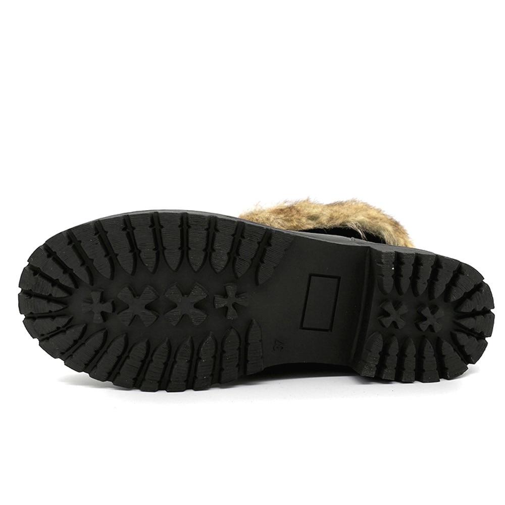 Martin Boot Mujeres Antideslizante Botas marrón Retro Caliente Cabeza La Tacón Mantener Bajo Mujer Invierno Negro Zapato Slouch Redonda Muqgew Plano COwq56xn4w