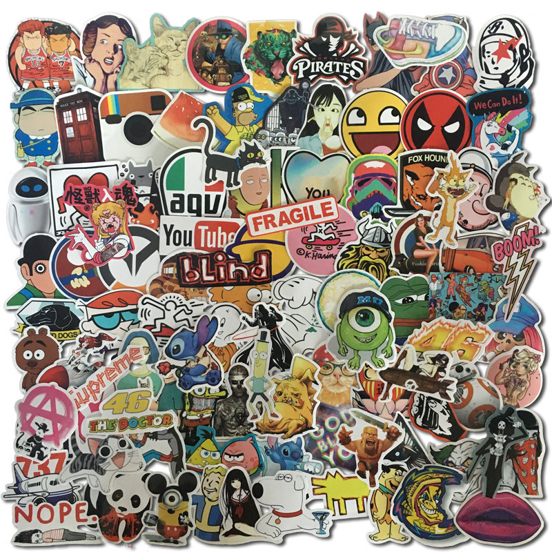 100Pcs/1lot  Mixed Stickers For Luggage Laptop Decal Toys Bike Car Motorcycle Phone Snowboard Funny Doodle Cool DIY Sticker