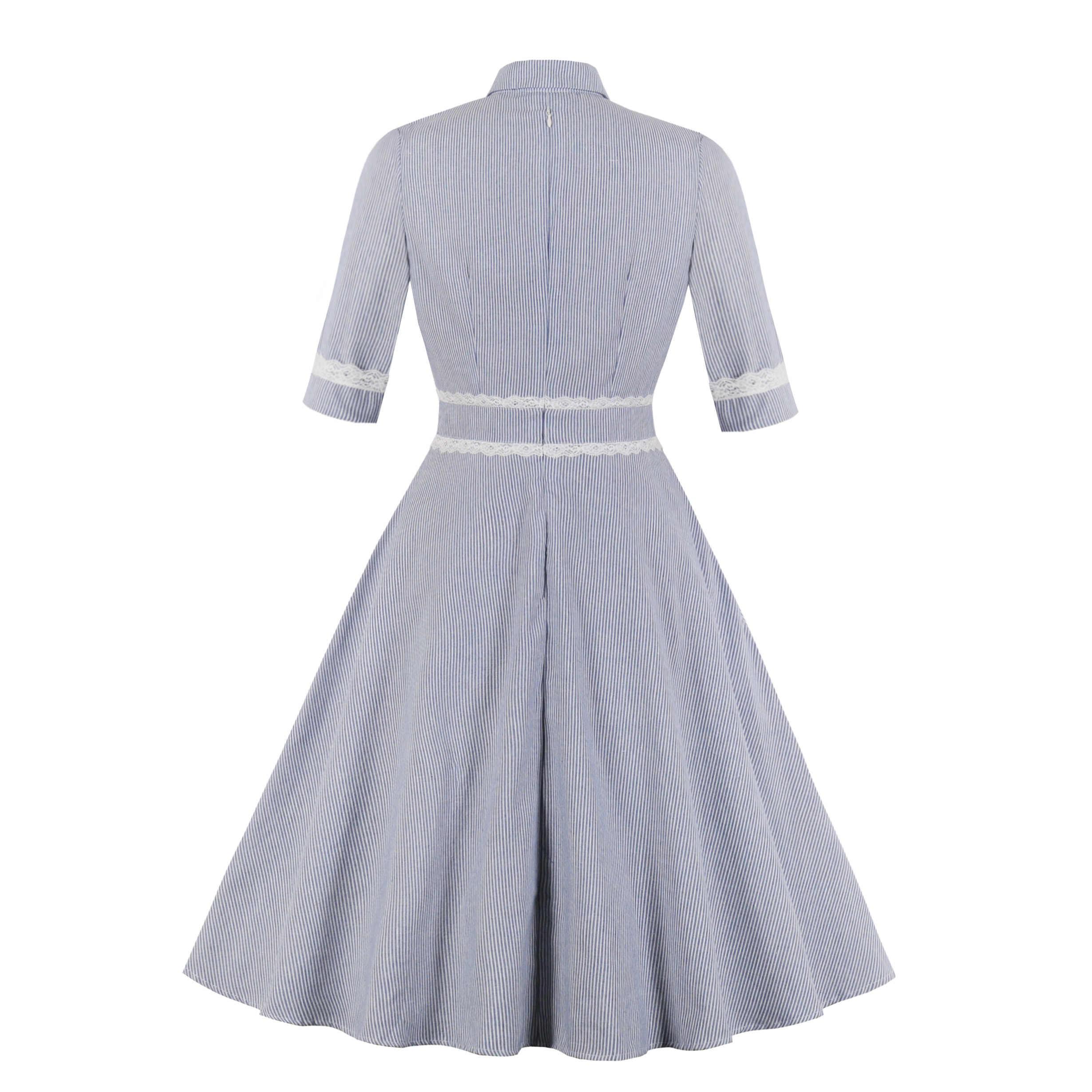 Women Summer Pin Up Stripe Casual Party Shirt Dress Half Sleeve Retro Robe 60s 50s Vintage Rockabilly Swing Dress Lace Vestidos Aliexpress