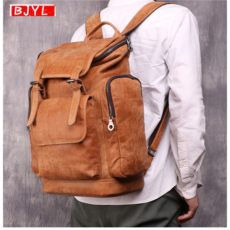 Retro Genuine Leather Mens Backpack Large Capacity first layer leather shoulder luggage bags men laptop Brown Travel BackpackRetro Genuine Leather Mens Backpack Large Capacity first layer leather shoulder luggage bags men laptop Brown Travel Backpack