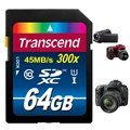 Transcend 16 32 64 GB SD Card 300x Class 10 UHS-I Flash Memory Card For Canon Nikon Casio FujiFilm Olympus Samsung GoPro Camera