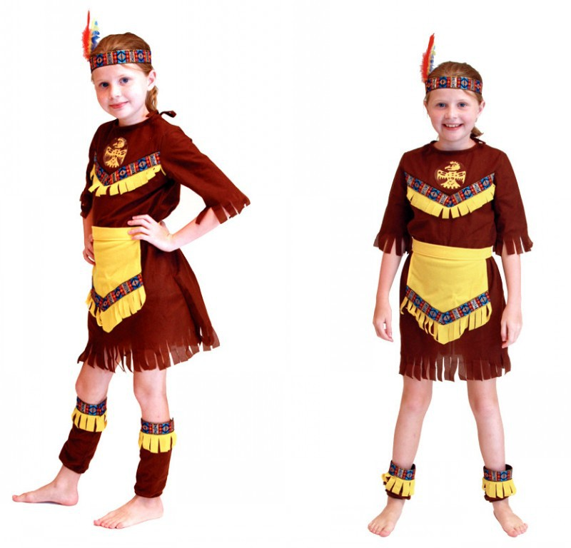 New Cosplay Halloween Costume Kids Role Playing Cos Mask Girls Ball Indian Prince Costume Hunter Suit B-5153