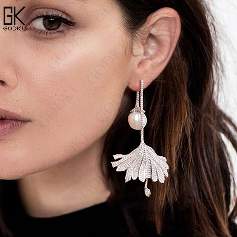 GODKI Luxury Imitation Pearl Long Dangle Earrings For Women Cubic Zirconia Crystal CZ Wedding Bridal Statement Drop Earring 2018 цена 2017