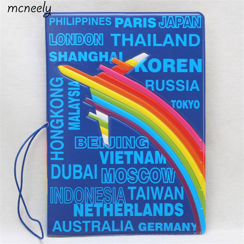 The Travel Network Rainbow plane Bule Passport Holder ,PVC Leather 3D Design Travel Passport Cover Passport Wallet 14*10CM