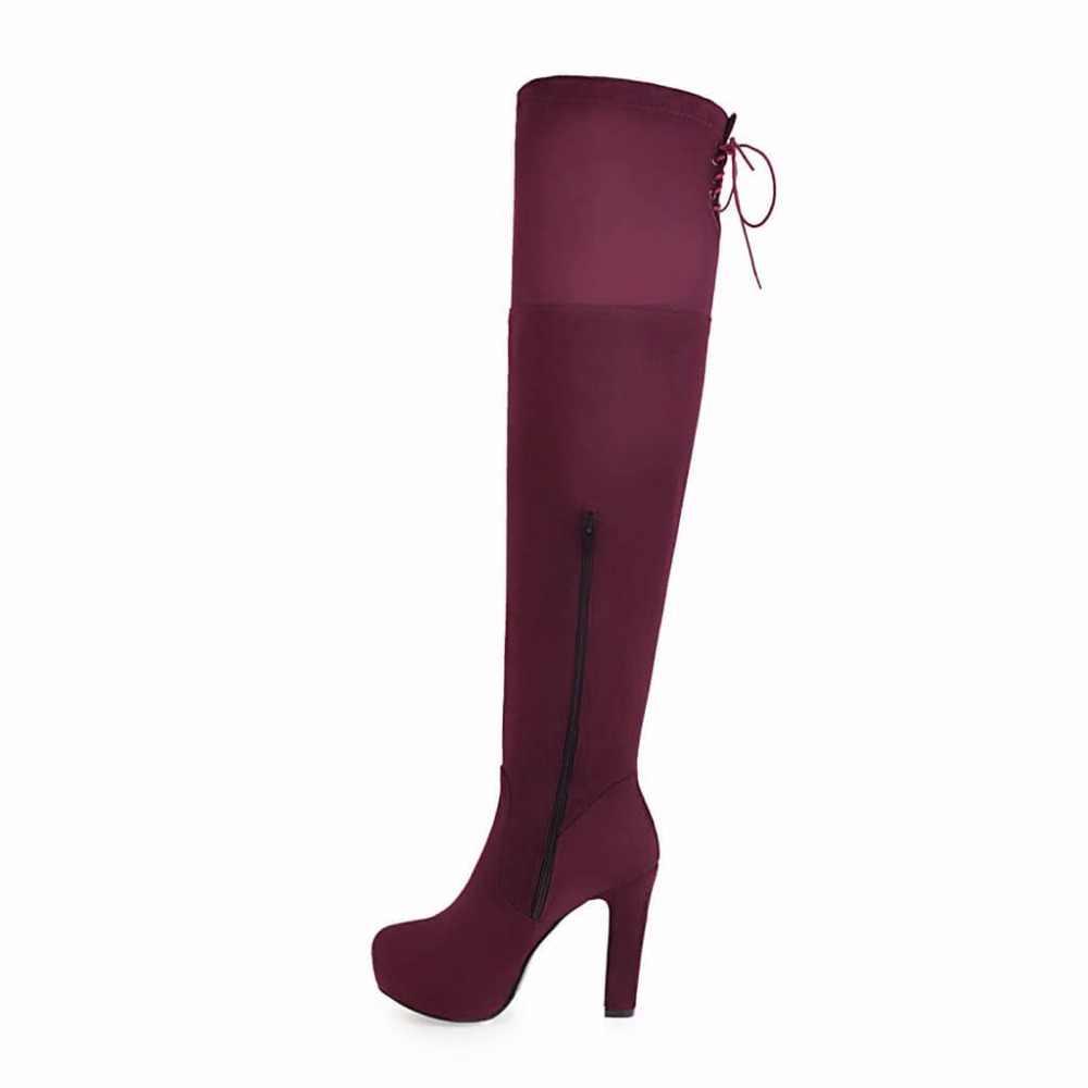 Sahte Süet Uyluk Çizmeler Kalın Yüksek Topuk Uyluk Çizmeler Moda Platformu Yan Fermuar Diz Ayakkabı Kadın Kırmızı Mavi siyah 2018