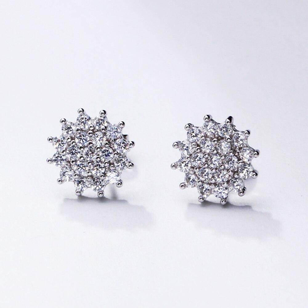Cute lovely real 925 stud earrings Crystal Shiny jewelry OL Jewellery oorbellen Elegant sterling silver Gifts for Women earring in Earrings from Jewelry Accessories