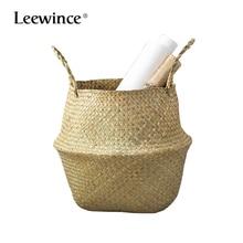 Leewince HandmadeNatural Woven Seagrass Belly Storage Basket Garden Flower Plant Pot Folding Laundry Wicker Rattan