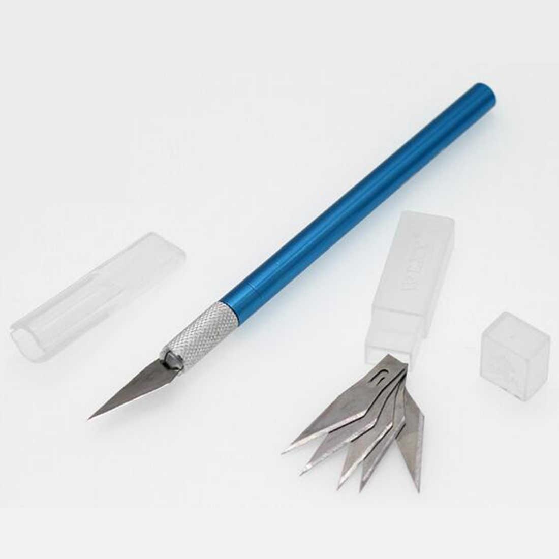 Нескользящий металлический скальпель нож набор инструментов Резак гравировка ремесло ножи + 6 шт. лезвия мобильный телефон PCB DIY ремонт ручные инструменты