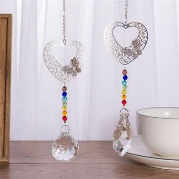 Colgante de ventana de bola de vidrio de arcoíris de Chakra de Metal en 3D, colgante de cristal hecho a mano con prismas de mariposa y corazón