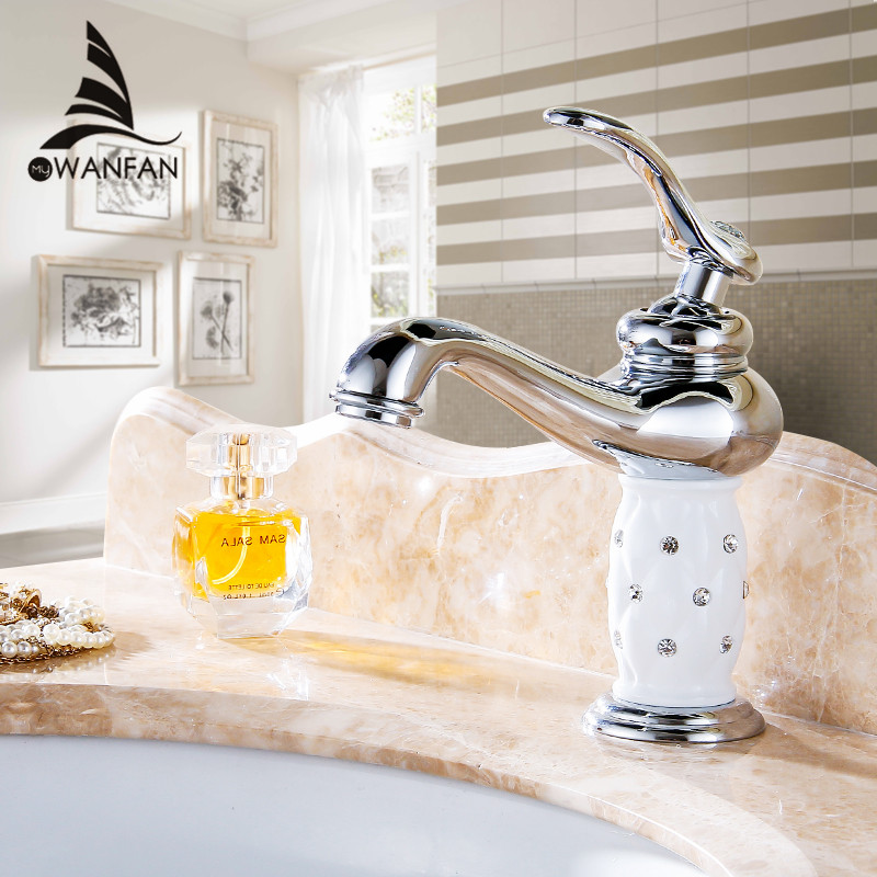 Basin Faucets Brass with Diamond Bathroom Faucet Chrom Mixer Tap Single Handle Hot Cold Washbasin Tap