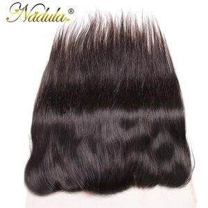 Image 3 - Игрока Nadula волос 13x4 бразильские прямые волосы наращивание спереди на косички 10 20 дюймов Бесплатная Часть Закрытие 130% плотность Волосы Remy Бесплатная доставка