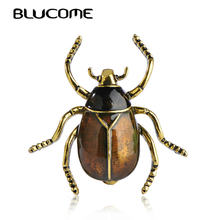 Blucome Purple Good Insect Cicada Brooches Enamel Gold-color Pins Mother Kids Gifts Jewelry Suit Collar Scarf Clips Accessories(China)