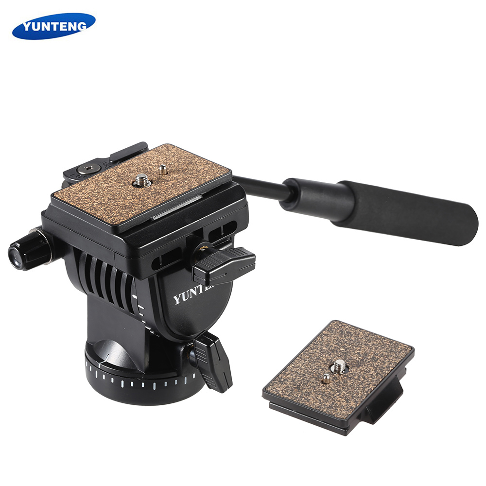 YUNTENG YT-950 Professional Fluid Drag Tilt Pan Damping Head Video DSLR Camera Tripod Head with Handle Two Quick Release Plates benro s2 video head pan and tilt head for dslr video camera