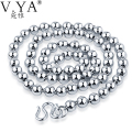 5mm Silver Ball Chain 925 Necklace Women Men 7mm Italy Chain Retro 100% Real Sterling Silver Punk Chain Jewelry N063